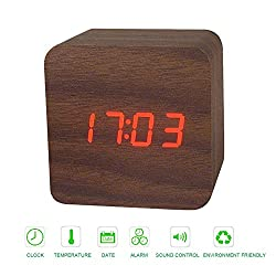 Zarsson Wood Alarm Clock, Digital Electronic Clock Cool LED Travel Clock for Kid Bedroom, Home, Office with Timer, Calendar, Thermometer and Voice Control (Red)