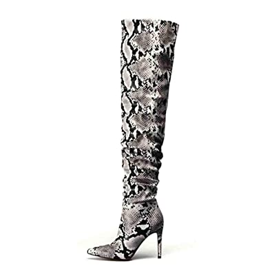 5af1eaf8ea5 ASILETO Slouch Thigh High Boot Snake Skin Over The Knee Boots Super High  Thin Heel Pleated