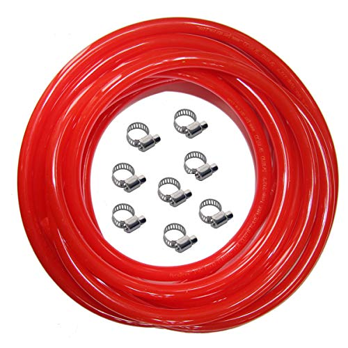 Red Gas Line Air Hose - 25ft Length CO2 Tubing Hose ID 5/16 inch OD 9/16 inch,Include 8 PCS Free Hose Clamps, Used for Draft Beer Home Brewing (Co2 Tubing)