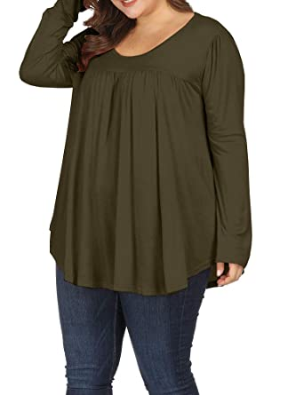 59f4063e807e6d Allegrace Women Plus Size Casual Pleated Long Sleeve Blouse Top Round Neck  Flowy T Shirts Army