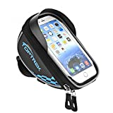Toptrek Cycling Bicycle Bike Top Tube Handlebars Bag Phone Mount Holder For iPhone 7 Plus / iPhone 6s / Galaxy Note2 / Galaxy S5 Cellphone Below 5.5 Inch Waterproof Front Frame Bags (blue)