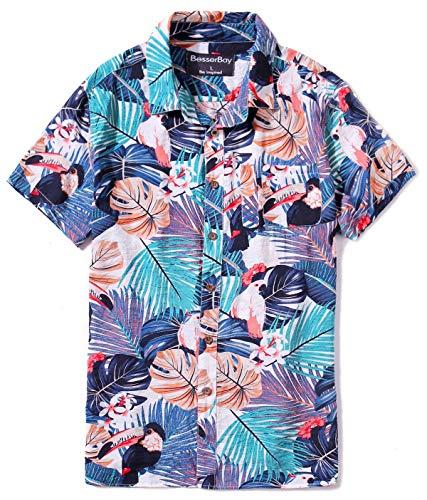 Men's Hawaiian Casual Botton Down Shirt Short Aloha Shirt Tropical Shirt for Mens Light Blue - Aloha Short