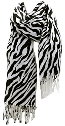 Premium Fashion Animal Print Zebra Shawl Scarf Wrap - White