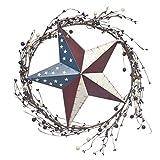 Patriotic American Flag Barn Star Wreath with Rattan Decorations - 14'' dia - Indoor, Outdoor, Metal, w/Plastic Colored Berries