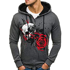 Mens T-Shirts Clearance WEUIE Mens Pure Color Pullover Long Sleeve Hooded Sweatshirt Tops Blouse(L, Dark Gray)