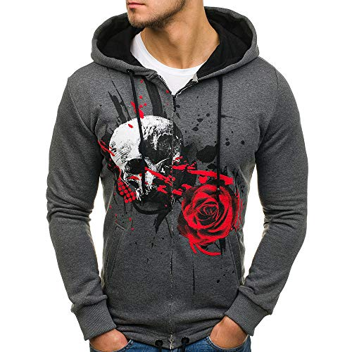 Sunhusing Men's Rose Printed Long Sleeve Hooded Sweater Fashion Pullover Top Jacket Coat -