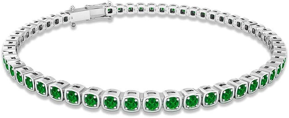 Pulsera de tenis cuadrada de esmeralda de 2,16 ct, con piedras preciosas de dama de honor, pulsera de declaración de boda, pulsera de aniversario apilable, 7 pulgadas