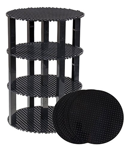 Strictly Briks Classic Stackable 8 Circle Baseplate Brik Tower Building Brick Set | 100% Compatible with All Major Brands | 4 Base Plates & 30 Stackers | Black