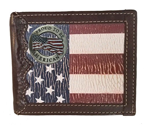 (Custom Proud to be American Bi-fold Wallet with a Distressed United States Flag background)