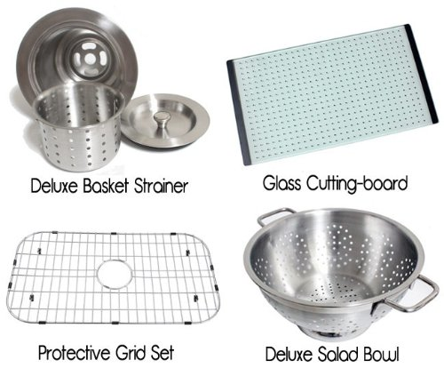 Chef Series 30 Inch Premium 16 Gauge Stainless Steel Undermount Single Bowl Kitchen Sink with Free Accessories