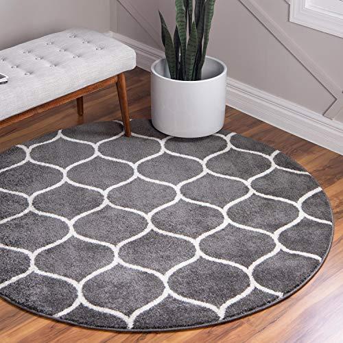Unique Loom Trellis Frieze Collection Lattice Moroccan Geometric Modern Dark Gray Round Rug (5' 0 x 5' 0) ()
