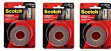 3M Scotch Extreme Mounting Tape, 1'' by 60-Inch, Black, 3 Sets