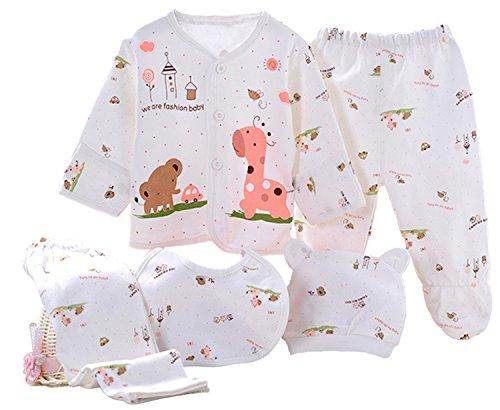 Kris&Ken 3 Colors Baby 5-Piece Layette Gift Set Unisex Essentials Bundle Newborn Gift Set ()