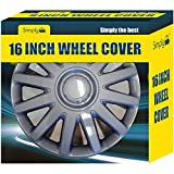 Simply SWT140P Car Wheel Cover, 16'' Box of 4 Trims, Universal Fit Hub Caps Quick & Easy Installation, High-Impact Plastic Silver, Set of 4
