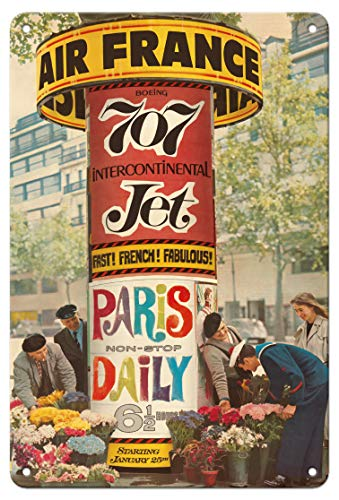 Pacifica Island Art 8in x 12in Vintage Tin Sign - France - Paris Non-Stop Daily - Boeing 707 Intercontinental Jet