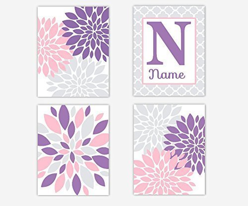 Amazon.com: Baby Girl Nursery Wall Decor Pink Purple Gray Flower ...