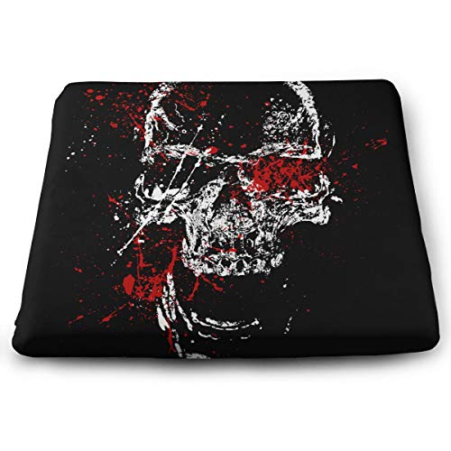 Eplus Skull Head Blood Memory Foam Seat Cushion Chair Pad Removable Non-Slip Breathable Cover, 13.7