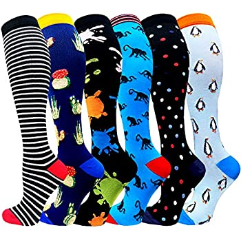 Compression Socks Women & Men 20-25 mmHg (1/3/6 Pairs), Best Athletic & Medical Running Flight Travel Pregnant (A4-Mix of Colors-8(6 Pairs), Small/Medium)