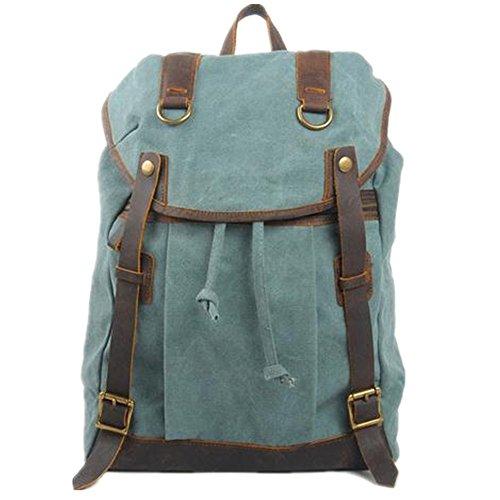 Bestfort Damen Herren Teenager canvas Leder Rucksack Laptoptasche Parktisch für Uni Freizeit Sport Wandern Weekender (Blau) Blau QsWIP4