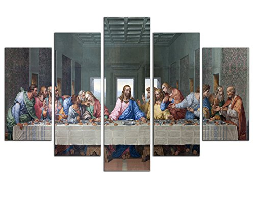 NAN Wind 5 Piece Large Size the Last Supper by Leonardo da Vinci Classic Art Print Wall Picture Giclee Canvas Prints Wall Art for Home Decor Ready to Hang(famous Painting replica) (Last Supper Oil Painting)