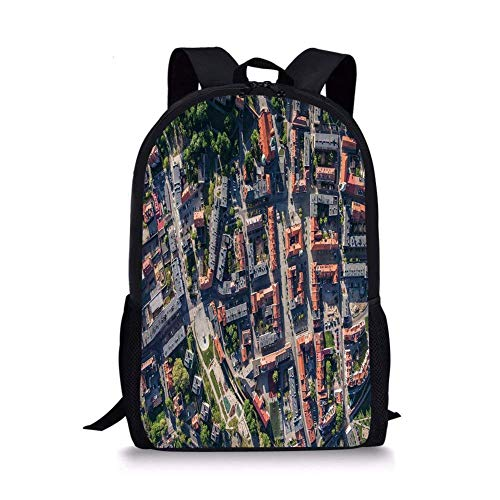 (School Bags City,Aerial View of Olesnica in Poland Industrial Landscape Buildings Roads Trees,Salmon Grey Green for Boys&Girls Mens Sport)