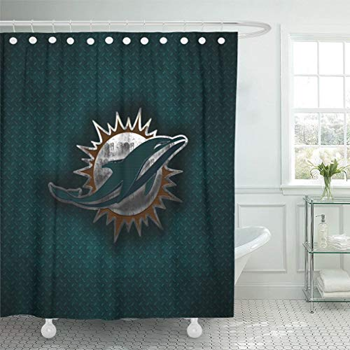 Ladble Decor Shower Curtain Set with Hooks Miami City Dolphins Miami Florida Creative Art Emblem Blue Metal Background Football 72 X 78 Inches Polyester Waterproof Bathroom