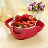 Double Dish for Pistachios, Peanuts, Edamame, Cherries, Nuts, Fruits, Candies, Snacks Plastic Serving Dishes and Bowls Tray Basket (Yellow+Magenta)