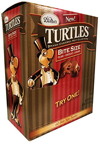 DeMet's Turtles Bite Size Mini Bars Variety Pack - Original Pecan, Double Chocolate, Sea Salt Caramel - 0.42 Ounce, 60 Pieces in a Pack Turtle Bar