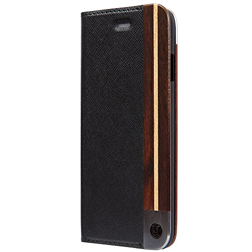 iPhone X Case, Uunique, Black, Saffiano Leather design with (Genuine Wood) & combination of Aluminium Book / Folio Case, Magnetic Closing, Stand Function, Premium Protective Cover, Book Case for Apple