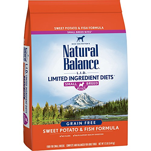 (Natural Balance Small Breed Bites L.I.D. Limited Ingredient Diets Dry Dog Food, Grain Free, Sweet Potato & Fish Formula, 12-Pound)