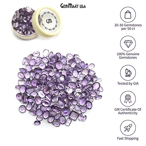 Cut Amethyst Stone (Select Your Stone 50 Carat Mix Gemstone Lot Gemmartusa loose Gemstone (AMETHYST) AA-60001)