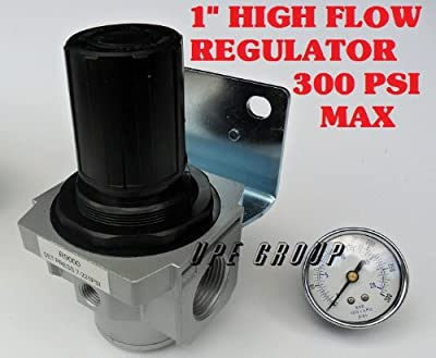 "Air Pressure Regulator HIGH FLOW HEAVY DUTY for compressor compressed air 1"" FREE GAUGE"