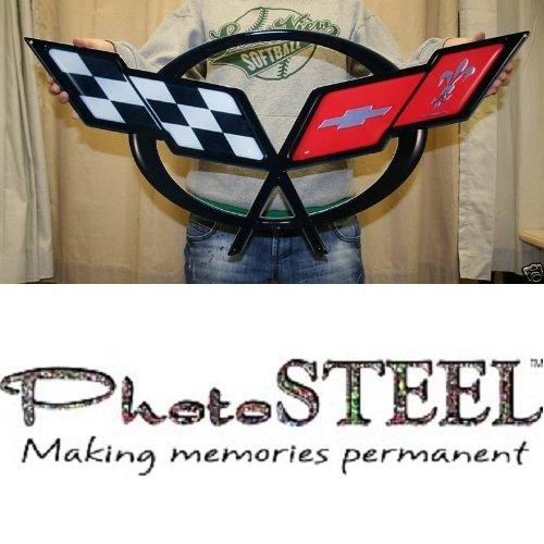 C5 Corvette Crossed flag Wall Emblem Large Metal Art 97-04 Full 32
