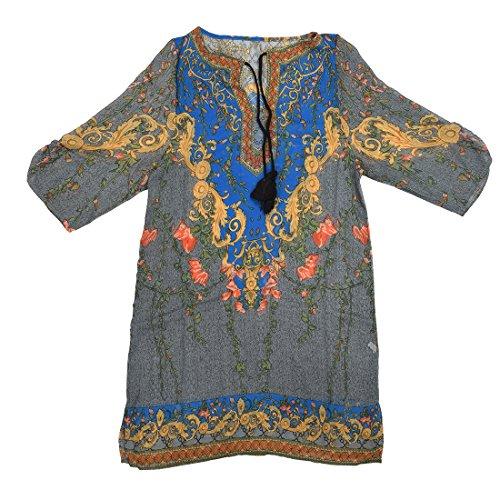 SODIAL(R) Robe imprimee de fleurs en mousseline de soie Casual robe de veste chemisier Bleu M