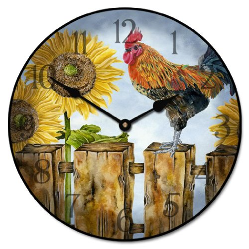 Sunflower Rooster Wall Clock