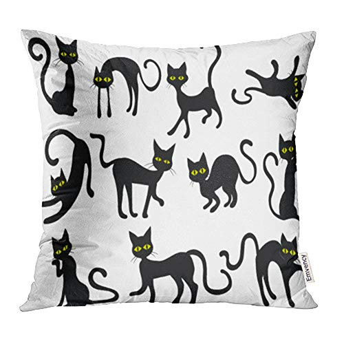 Emvency Decorative Throw Pillow Case Cushion Cover Yellow Holloween Black Cats Silhouettes Clip Halloween Eyes Face Clipart Scared 16x16 Inch Cases Square Pillowcases Covers Two Sides Print