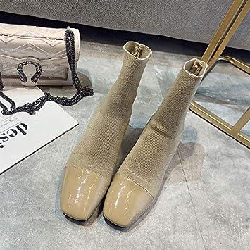 Shukun Botines Calcetines Botas de Punto Botas de Estiramiento de cuellos Otoño e Invierno Gruesos con