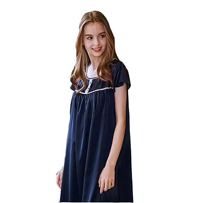DSJJ Pijama Mujer Camison Verano Manga Corta Vestido Casual Nightclothes de Satén