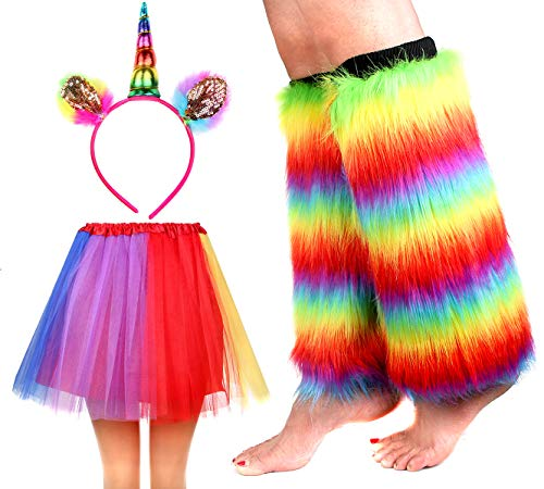 IETANG Women's Rainbow Long Gloves Socks and 3 Layered Tulle Tutu Skirt Party Accessory Set (Color-J) -