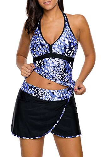 AlvaQ Women Printed Two Piece Swimsuits with Skirt (S-XXXL)