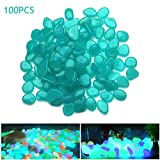 Cheap 100 Pcs Glow in the Dark Pebbles Garden Gravel Stones for Walkway Yard and Fish Tank Aquarium Decor DIY (blue)