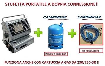 Estufa estufa portátil a doble conexión incluye bombona de gas 5 kg Campingaz: Amazon.es: Jardín