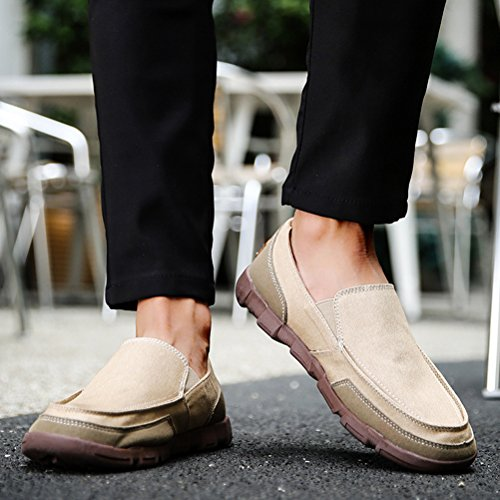 Vogstyle Menns Slip-on Klut Sko Casual Mote Lerret Loafers Khaki