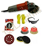 TOOLS CENTRE ORIGINAL MADE IN INDIA WITH 3 MONTHS WARRANTY 850W ANGLE GRINDER POLISHING KIT (4'') WITH FREE COMBO OFFER PAD + SANDING DISC + TWISTED BRUSH + NON TWISTED BRUSH+CUTTING WHEEL FOR MARBLE/G