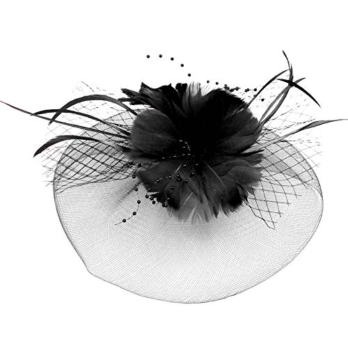 Song Qing Women Wedding Veil Feather Fascinator Headband Hat Lady Bride Party Hairband ()