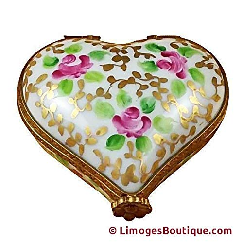 French Limoges Boxes Boutique HEART TAPESTRY ROSE - LIMOGES BOX AUTHENTIC PORCELAIN FIGURINE FROM FRANCE