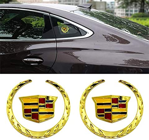 For 2 Pack 6cm Silver Cadillac Emblem Grille Wreath /& Crest Plated for Cadillac 3D Logo Symbol Stickers Fits all Cadillac Vehicle