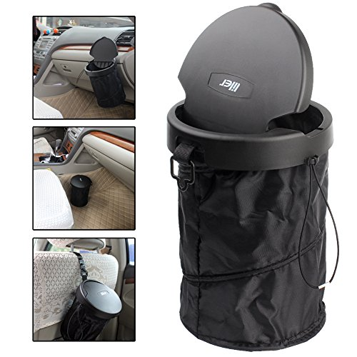 Liler Universal Traveling Portable Car Trash Can   Collapsible Pop Up Trash Bin With Cover  Black