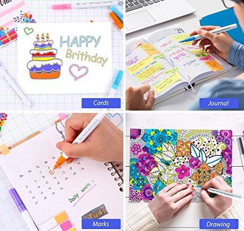 etc. colorear Rotuladores met/álicos para delinear dibujar tarjetas de regalo Rotuladores Ohuhu de doble l/ínea con 12 colores diferentes para escribir en tu diario