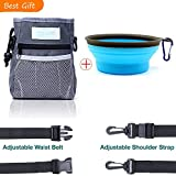 Dog Treat Pouch,Af-Wan Premium Dog Treat Tote Small,Training Bag with Silicon Dog Bowl/Poop Bag Dispenser and Adjustable Waist/ Shoulder Belt.Easy Open-Close Spring Hinge and Front Mesh Pocket,(Gray )